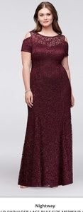 Cold shoulder evening gown